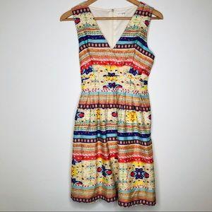 Maison Jules Faux Wrap Dress w/ Aztec Print Lined